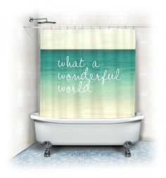 Ocean Fabric Shower Curtain Wonderful World by VintageChicImages