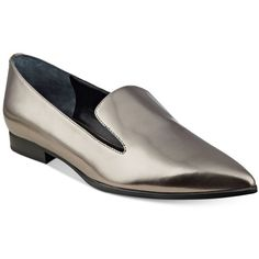 Guess Women's Loriana Pointy-Toe Loafers ($50) ❤ liked on Polyvore featuring shoes, loafers, pewter, loafers moccasins, pointy toe loafers, guess loafers, guess footwear and guess shoes