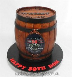 This large whisky barrel cake was made for a birthday celebration. The cake stands approx / 13 inches high and caters for 100 party size / 200 coffee sized portions. The label on the front of the barrel is part of his birthday invitation. Cakes For Men, Just Cakes, Whiskey Barrel Cake, 21st Birthday Cakes, Birthday Celebration, 25 Birthday, Liquor Cake, Sea Cakes, Cake Shapes