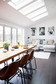 Industrial kitchen extension dining living rooflights with sofa and table. Industrial kitchen extension dining living rooflights with sofa and table. Open Plan Kitchen Living Room, Kitchen Family Rooms, Open Plan Living, Open Plan Kitchen Diner, Open Plan House, Living Room And Kitchen Together, Kitchen Diner Lounge, Open Living Area, Kitchen Diner Extension