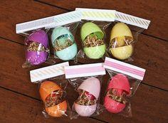 a rainbow of polish - nail polish in plastic easter eggs