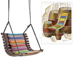 i'm currently smitten with Angela Missoni's Miss Dondola. A beautiful mix of colorful padding and playful string connecting the wood staves of the casks to form what looks like a fun swinging chair.