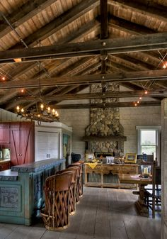 Barn home, my dream would be to turn an old barn into a home. Love the lights over the counter.