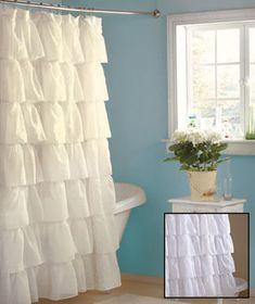 Gypsy Ruffled Shower Curtains...$16.95...window curtain...put a burlap valance over top
