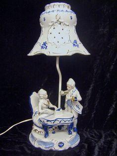Vintage Blue White Porcelain Victorian Figurine Table Lamp W Porcelain  Shade | EBay