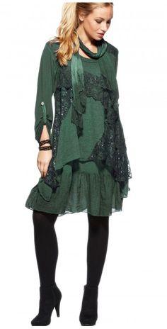 LikeLondon grön klänning med spets och mohairväst ee59a208107f1