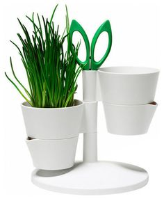 Herb Stand Flowerpot - This simple and streamlined design would be perfect perched on a small counter corner, arm's reach from right where you're cooking.