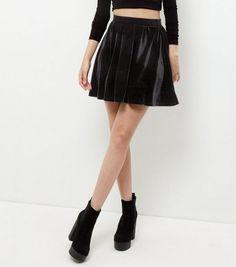 Black Velvet Skater Skirt  | New Look