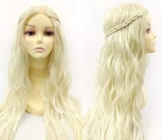 34 inch Platinum Blonde Long Wavy Heat Resistant Lace Front Lace Part Wig. Beauty Cream, Platinum Blonde, Long Wigs, Blonde Wig, Synthetic Wigs, Wig Cap, Cosplay Wigs, Hairline, Human Hair Wigs