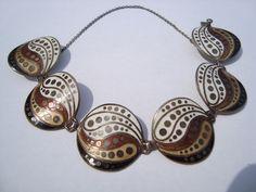 Margot De Taxco Sterling Enamel Bracelet