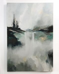 I want to repaint this but instead of the trees, a castle.   Somewhere, Baby by Monika Kralicek. Large abstract landscape painting