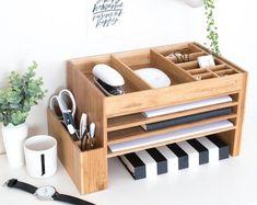 Wood Desk Organiser Desk Accessories Stationery Organiser Desk Accessory Desk Tidy The Space Cube Charging Station Desk Tidy, Diy Desk, Organized Desk, Workspace Desk, Craft Desk, Wood Nightstand, Wood Desk, Wood Wood, Office Desk Organization
