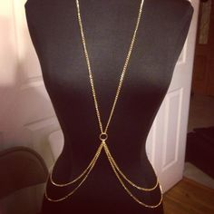 Gold Body Chain Jewelry Harness Necklace by VintageMadeByDucky, $12.80