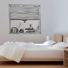 vinilo decorativo que simula una ventana con la persiana baja y una radio. Ideal para decorar una habitación.