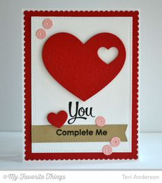 Card with Heart - U complete me - Du gør mig hel - fuldender mig - Smitten with You, Heart Puzzle Die-namics, Sequins Die-namics - Teri Anderson card with heart hearts Valentines Day Cards Handmade, Handmade Birthday Cards, Valentine Crafts, Greeting Cards Handmade, Paper Cards, Diy Cards, Anniversary Cards, Homemade Cards, Cardmaking