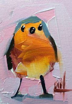 Robin no. 156 original bird oil painting Angela Moulton ACEO Art #Impressionism