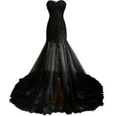 Zorabridal Vintage Gothic Mermaid Beaded Lace Black Wedding Dress for... (£76) ❤ liked on Polyvore featuring dresses, gowns, long dress, bridal dresses, brides dresses, gothic dress, lacy dress and vintage bridal dresses