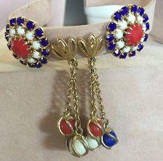 Vintage Patriotic 4th Of July Red White & Blue Rhinestone Dangle Earrings Lot