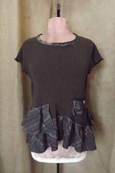 Upcycled Lagenlook Burberry Style Plaid Ruffle Sweater Tunic Size M-L. $48.00, via Etsy.