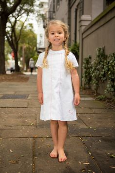 The Evelyn Shift by Crescent Moon Children.  Beautiful crisp white shift for spring and summer!  #childrensclothing #boutiquekidsclothes #kidsclothes