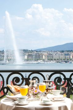 Breakfast on the terrace is an elaborate affair with views of Lake Geneva.