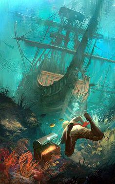 Assassin's Creed IV Black Flag Fan-art by Sergey Zabelin Arte Assassins Creed, Assassins Creed Black Flag, Pirate Art, Pirate Life, Old Sailing Ships, Ghost Ship, Fantasy Places, Fantasy Landscape, Landscape Concept