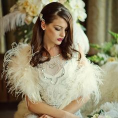 Vintage Inspired Ivory Ostrich Feather Bridal Shrug Wrap by Athena Crystal Couture.