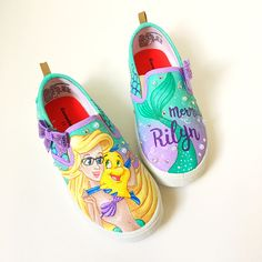 Princesses do wear glasses! Little mermaid shoes. Get your daughters features on her favorite princess!