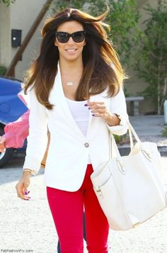 Afraid to go white-on-white? Add a bold color into the mix to add interest but still stay classic. (Eva Longoria)