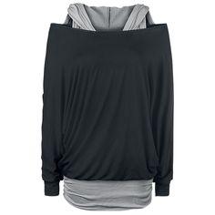 Black Premium by EMP:n kaksikerroksinen lepakkopaita:  - huppu - kuronnat sivussa - painijanselkätoppi on kiinni paidassa  EMP ei tarjoa vain pelkkää mustaa paitaa vaan lisäksi myös harmaan painijanselkätopin. Naisten Hooded Bat Double Layer -paidassa on kaunis musta pitkähihainen paita ja harmaa hupullinen painijanselkätoppi, joka on kiinni paidassa.
