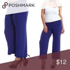 """CLEARANCE! Blue Rayon Stretch Palazzo Pants Very discounted price! Only few pcs left! NWT. Soft, comfortable, palazzo pants. 29"""" inseam. Size 1X (14W-16W) Pants"""