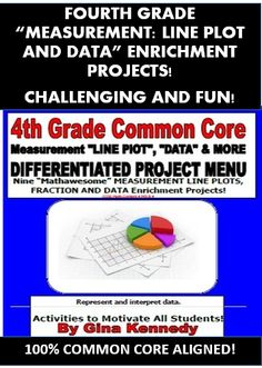 "CREATIVE, FUN AND CHALLENGING 4TH GRADE MATH COMMON CORE MEASUREMENT, DATA and LINE PLOTS ENRICHMENT PROJECTS! This is a must have for any 4th grade common core classroom. Nine creative differentiated ""MEASUREMENT: LINE PLOTS AND DATA"" math projects that coorelate with the following standards: CCSS.Math.Content.4.MD.B.4 These menus are excellent for early finishers, high achievers and talented and gifted students in your classroom or as homework for the entire class."