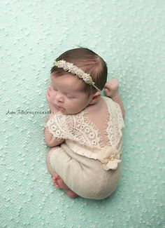 Newborn Romper Baby Girl Photo Outfit Lace Romper Newborn