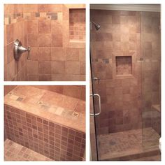 Tile shower with bench.