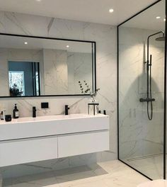 Modern Scandinavian Bathroom Interior in white - interior design ideas and . - Modern Scandinavian Bathroom Interior in White – Interior Design Ideas – moercar – Modern Sca - Modern Bathroom Design, Bathroom Interior Design, Bathroom Designs, Modern Bathrooms, Small Bathrooms, Bath Design, Dream Bathrooms, Modern Master Bathroom, Simple Bathroom