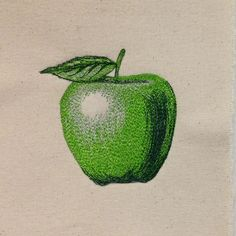 """Thread-painted apple: """"No Fear Thread Painting"""" 2014 workshop with Sam Hunter"""