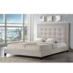 Shop for Baxton Studio Hirst Light Beige Linen Bed with Upholstered Headboard. Get free shipping at Overstock.com - Your Online…