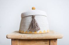 Cute cotton basket with linen tassel..cozy, boho, gold, natural