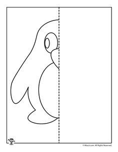 Symmetry for Kids Worksheets Penguin Mirror Drawing Worksheet Printable Symmetry Worksheets, Letter Worksheets, Kindergarten Worksheets, Worksheets For Kids, Activities For Kids, Winter Crafts For Kids, Winter Kids, Kids Crafts, Drawing For Kids