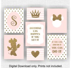 Minnie Mouse room decor Monogram Crown Heart Quote