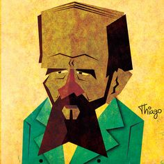 Fyodor Dostoevsky, philosopher, art, design, illustration, history, philosophy, civilization, man, mind, brain, design