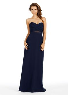 Indigo chiffon strapless A-line bridesmaid gown, cross-over draped neckline, natural waist with sheer cut-out. Bridesmaids Dresses: Junior, Maternity & Flower Girl Dresses by Jim Hjelm Occasions - Bridesmaids and Special Occasion Style jh5451 by JLM Couture, Inc.