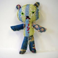 Decrepit Ted - recycled fabric little teddy bear.