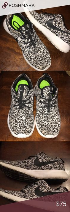 Nike Roshes! Black & white spotted, lightweight & comfortable! Only wear is shown on bottoms! So cool!!! Nike Shoes Athletic Shoes