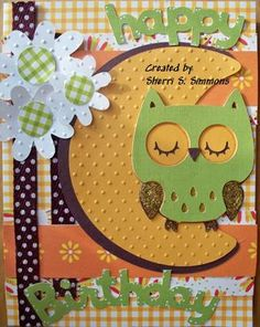 Cricut Owl Card.  Create a Critter Cartridge.  A couple color changes and change flowers to maybe stars and would an adorable Halloween card