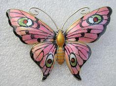 Stunning large vintage Art Deco Silver guilloche enameled Butterfly brooch JA