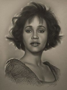Celebrity Pencil Portraits - Whitney Houston #CelebrityPencilDrawings