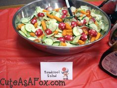 Toadstool Salad (crafted radishes) by Cute As a Fox: Mario Themed Birthday Party | NES Nintendo Super Mario Brothers