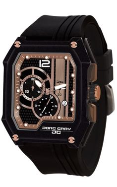 Jorg Gray JG7100-23 Men's Watch Rose Gold And Black Dial Chronograph Rectangular Case