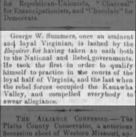 George W. Summers takes the oath 1862